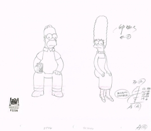 Homer and Marge sit