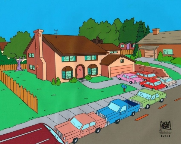 Simpson House With Cars Original Background