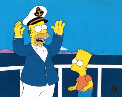 Homer Simpson as Captain and Bart
