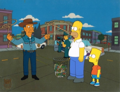 Homer Simpson and Bart with cowboy