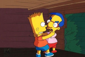 Bart and Milhouse fighting