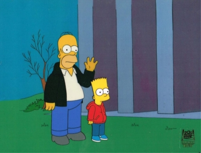 Homer and Bart Simpson wave
