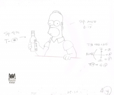 Homer Simpson enjoying a beer