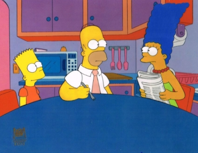 Homer, Marge and Bart in kitchen